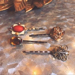 One-of-a-Kind Vintage Hair Pins - Antique Orange